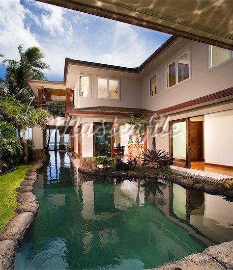 pool side Hawaiian home