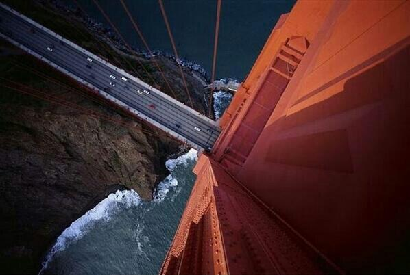 This is the view from atop the Golden Gate Bridge.