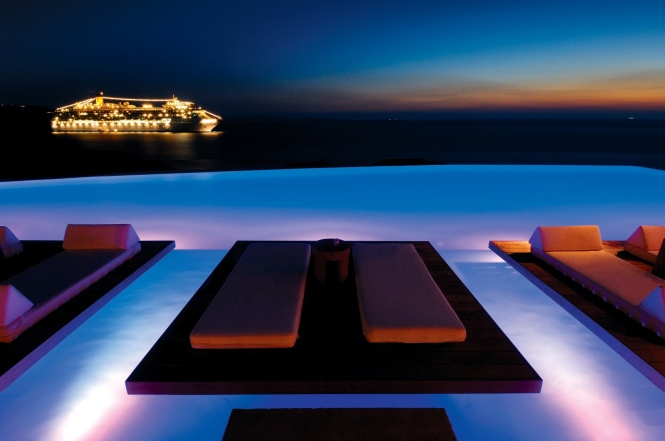 Magic Lit Infinity Pool, Cavo Tagoo Hotel - Town, Mykonos, Greece