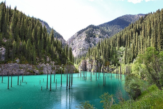 1. Lake Kaindy's undewater forest in Kazakhstan.