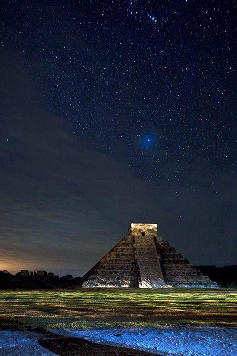 Starry sky over Chichen Itza, Mexico