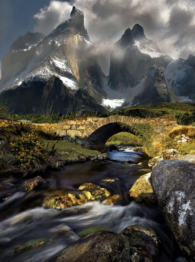 mountain stream torres del paine chile