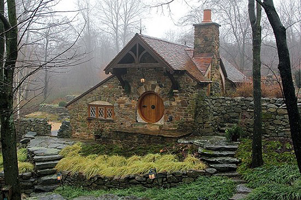 The 600-square foot building is a short walk from his main house, on a flat stone path and through an English-style garden.