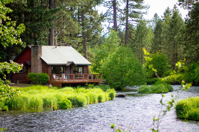 The Metolius is a fly-fishing, catch and release only river and actually comes up from natural springs in the ground.  It's cold, clear, clean, and gorgeous! There's a little general store about 20 yards from the cabins that has everything you need for your trip, plus some.