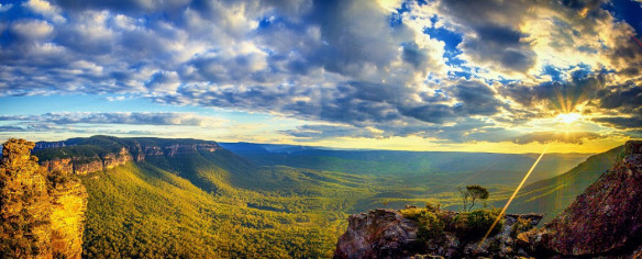 Sunset in Megalong Valley, Blue Mountains, Australia. Boar's Head Rock and Narrowneck Peninsula on the left. by Double Shot.