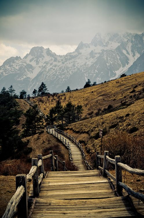 Mountain hiking trail Near Lijiang, Yunnan province, China