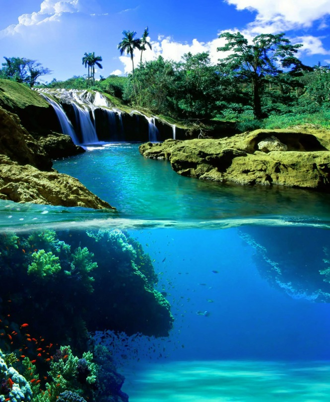 Split View Waterfall, Hawaii