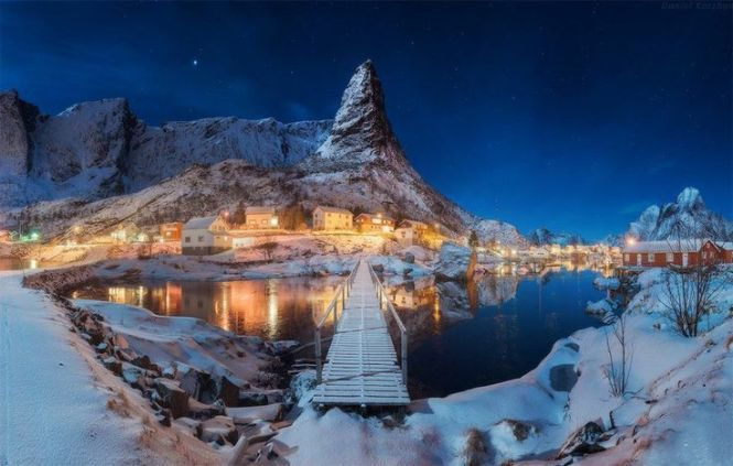 Wintry Lofoten Island Of Senja, Norway, at night.