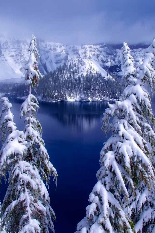Winter in Crater Lake, Oregon
